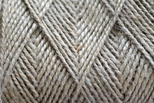 Top View Of Natural Jute Twine Skein Background, Macro