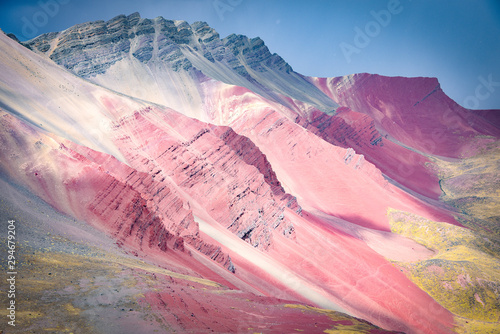 Wall Murals Light pink Colourful rock formations in the mineral-rich mountains of Red Valley. Cordillera Vilcanota, Cusco, Peru