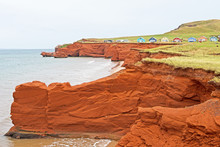 Eroded Red Sandstone Cliffs An...