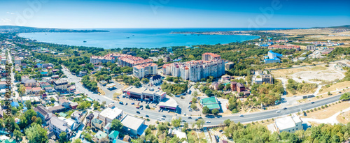 Canvas Prints Ship Aerial view of the Gelendzhik Bay. View from height from Novorossiysk. Gelendzhik resort is the best resort on the Black sea and the South of Russia