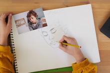 Crop Woman Making Portrait Of ...