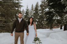 Wedding Couple Walking In Winter Landscape