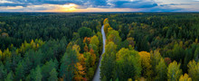 Latvian Autumn Nature. Forest And Road. View From The Top.
