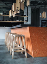 Orange Concrete Bar Counter Wi...