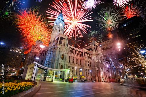 Obraz na płótnie City hall in Philadelphia, PA, USA and fireworks