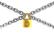 Golden Padlock And Metal Chain...