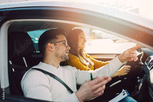Canvas Print Driving school or test