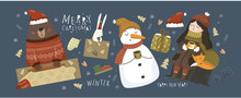 Happy New Year And Merry Christmas! Vector Illustrations For The Holiday: Cute Animals, Snowman, Snow Maiden, Santa Claus, Bear Bakes Christmas Gingerbread Cookies, Hare, Gift. Set Of Objects