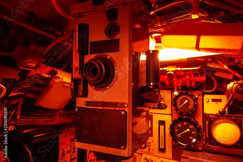 Interior of combat submarine compartment with devices of control Canvas Print