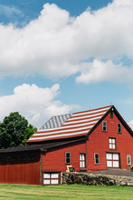 Barn With American Flag Roof
