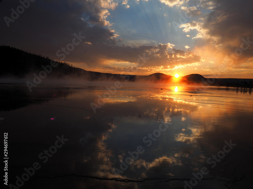 Sunset at Grand Prismatic Spring, Yellowstone National Park 3