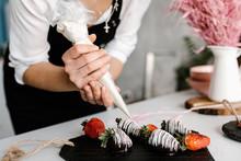 Crop Hands Decorating Desserts