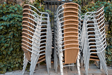 Stack Of Chairs In A Patio