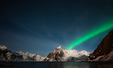 Starry night and northern lights at Hamnoy, Norway