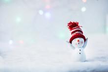 Happy Snowman Standing In Wint...