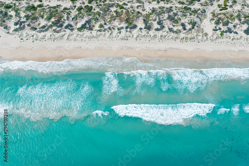 Aerial views of sunny beach