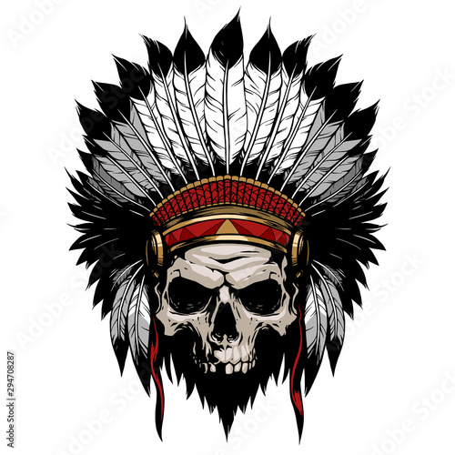 American indian skull with feather hat Wallpaper Mural