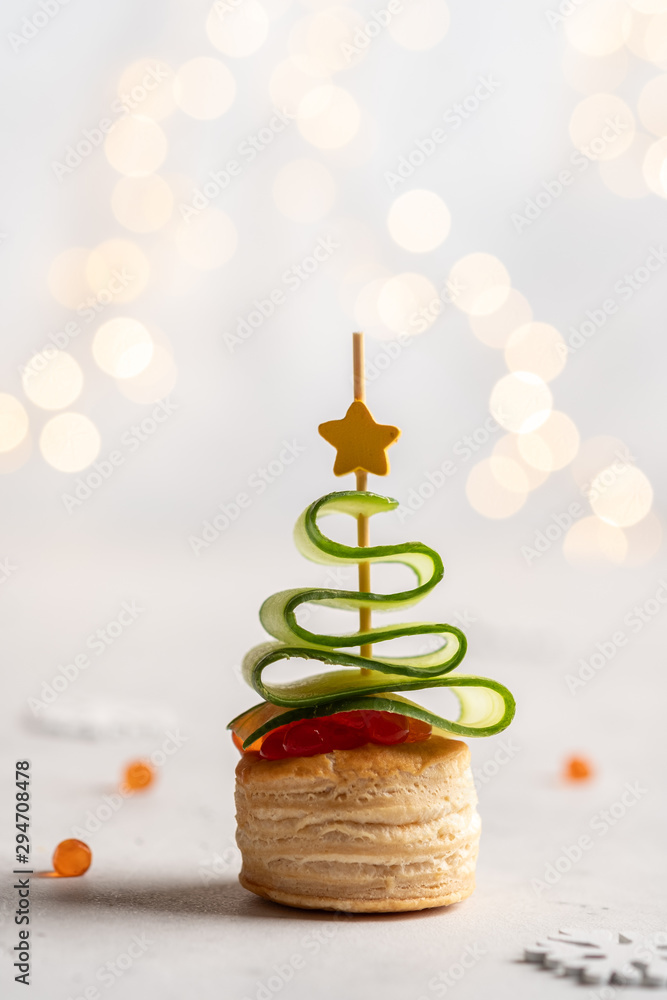 Fototapety, obrazy: Christmas tree canape with cucumber slice, salmon pate and red caviar