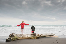Young Boy And Girl Playing On Driftwood At The Beach