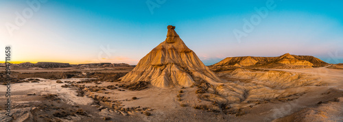 Panoramic at sunset the beautiful Castildestiedra in the Bardenas Reales de Navarra