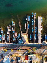 Aerial View Of Boats And Piers...