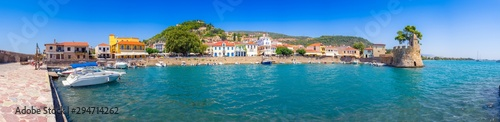 Photo  View of the port of Nafpaktos, Lepanto with the fortress and the entrance of the