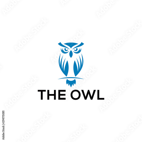 owl logo with sloping body position and face forward like glancing