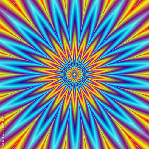 Poster Psychedelique Blue Star Orange Star / A digital fractal image with an optically challenging pointed geometric star design in blue, orange, yellow, red and violet.
