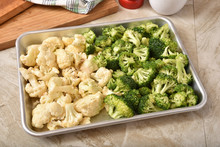 Broccoli And Cauliflower Florets In A Baking Pan