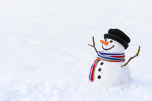 Cute Snowman In Deep Snow