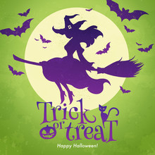 Trick Or Treat Banner. The Pretty Witch Flies On A Broomstick Against Green Background Of The Full Moon. Halloween Greeting Concept. Vector Illustration.