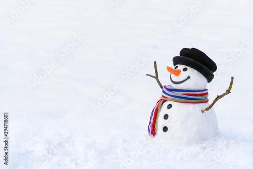 Photo Cute snowman in deep snow