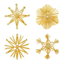 Set Of Snowflakes Made Of Stra...