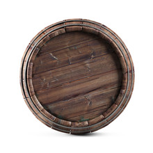 Wooden Barrel Isolated On White Background. Clipping Path Included.