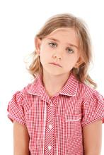 Sad Little Girl On White Backg...