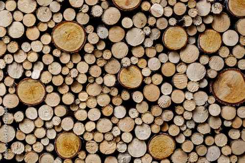 Printed kitchen splashbacks Firewood texture Round firewood texture. Pile of wood logs ready for winter.