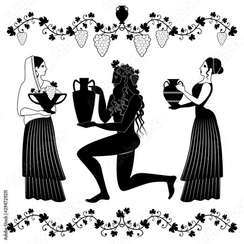 Women holding vessel and fruit bowl and man or God Dionysus kneeling, grabbing amphora and crowned with grape leaves and grapes Wallpaper Mural