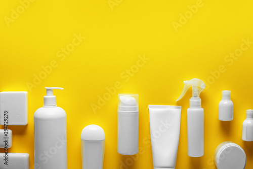 Fotomural Cosmetics for personal hygiene on color background