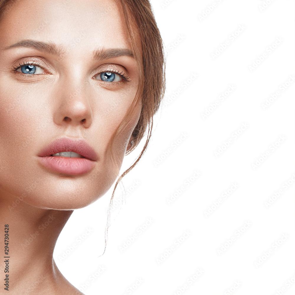 Fototapeta Beautiful fresh girl with perfect skin, natural make up. Beauty face.