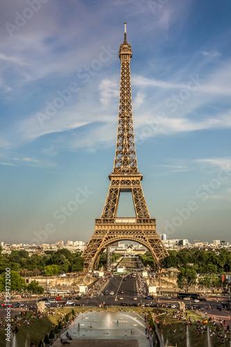 Poster Tour Eiffel Eiffel Tower Paris France beautiful sunset scenic view tres beau Paris Tour famous landmark building