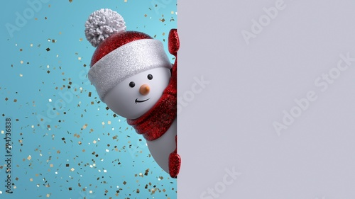 Obraz Christmas greeting card template. 3d snowman holding blank banner, looking at camera. Winter holiday background with gold confetti. Happy New Year mockup with copy space. Funny festive character. - fototapety do salonu