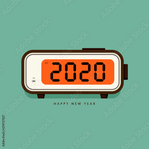Photo 2020 Happy new year concept decorative with vintage digital alarm clock