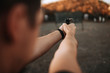 canvas print picture - Shooting from handgun, personal point of view, close-up.