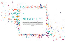 Vector Template Banner And Poster Colorful Music Melody Note Dancing Flow . Concept Background For Song And Concert Theme.