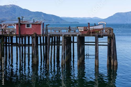 Obraz na plátně Old wooden dock at Icy Strait Point, Alaska