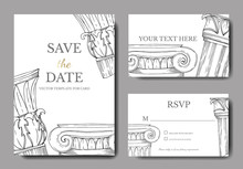 Vector Antique Greek Columns. Black And White Engraved Ink Art. Wedding Background Card Decorative Border.
