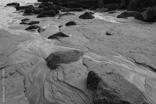 Striations and grooves in sand during low tide at Sand Beach in Acadia National Park on Mount Desert Island, Maine Canvas-taulu