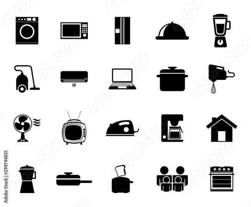 Photo Isolated home appliance icon set vector design