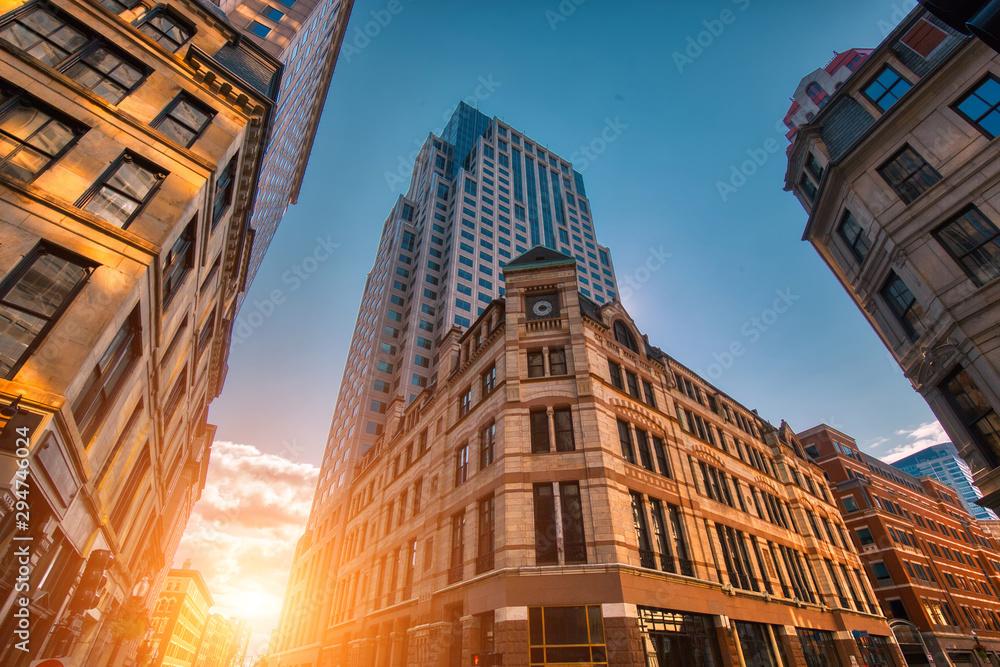 Fototapety, obrazy: Scenic Boston downtown financial district and city skyline