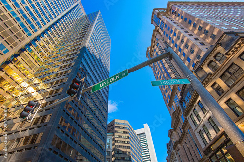 Pinturas sobre lienzo  Scenic Boston downtown financial district and city skyline